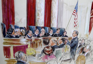 Solicitor General Donald B. Verrilli, Jr., speaks in front of the Supreme Court in Washington, Tuesday, March 27, 2012, as the court continued hearings on the health care law signed by President Barack Obama. Justices, seated from left are, Sonia Sotomayor, Stephen Breyer, Clarence Thomas, Antonin Scalia, Chief Justice John Roberts, Anthony Kennedy, Ruth Bader Ginsburg Samuel Alito and Elana Kagan. (AP Photo/Dana Verkouteren) ORG XMIT: DCCD121