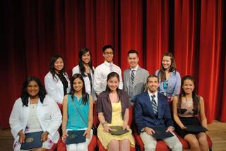 SWOSU pharmacy students from Oklahoma City receiving awards were, front row from left, Mekha S. Thampi, Bindu M. Thomas, Anna N. Vu, John J. Cannedy and Jennifer T. Le. Back row from left: Van T. Lam, Tiffany B. Le, Kevin Q. Le, Duy M. Nguyen and Theresa M. Dang.