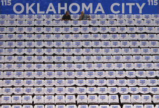 NBA BASKETBALL / PREPARE / PREPARATION: White Thunder T-shirts line the seats before the start of Game 2 of the NBA Finals between the Oklahoma City Thunder and the Miami Heat at Chesapeake Energy Arena in Oklahoma City, Thursday, June 14, 2012. Photo by Chris Landsberger, The Oklahoman