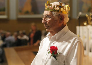 Raymond Duncan, 94, is announced as prom king during the 18th annual Young at Heart Senior Prom. Photo by Sarah Phipps, The Oklahoman SARAH PHIPPS -
