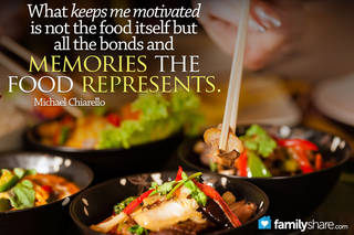 What keeps me motivated is not the food itself but all the bonds and memories the food represents. Michael Chiarello