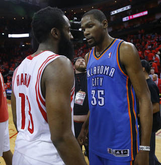 Oklahoma City's Kevin Durant (35) talks with Houston's James Harden (13) after Game 6 in the first round of the NBA playoffs between the Oklahoma City Thunder and the Houston Rockets at the Toyota Center in Houston, Texas, Friday, May 3, 2013. Oklahoma City won 103-94. Photo by Bryan Terry, The Oklahoman