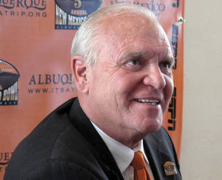 UNIVERSITY OF TEXAS AT EL PASO / COLLEGE FOOTBALL: UTEP coach Mike Price smiles during a news conference to promote the New Mexico Bowl, Thursday, Dec. 9, 2010, in Albuquerque, N.M. Price and BYU coach Bronco Mendenhall attended a luncheon to promote the Dec. 18 game. (AP Photo/Tim Korte) ORG XMIT: NMTK103
