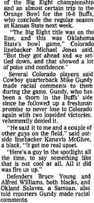 A section of an article in the Nov. 12, 1989, edition of The Daily Oklahoman after Colorado's win over Oklahoma State. [OKLAHOMAN ARCHIVES]