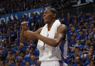 Oklahoma City's Kevin Durant (35) reacts during the first round NBA basketball playoff game between the Oklahoma City Thunder and the Denver Nuggets on Wednesday, April 20, 2011, at the Oklahoma City Arena. Photo by Sarah Phipps, The Oklahoman