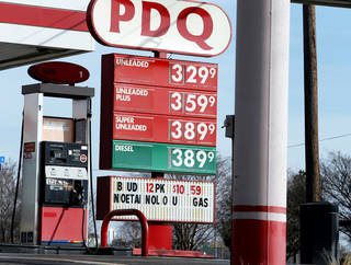 High gas prices are displayed Friday at this station on SE 29 Street. Photo by Steve Sisney, The Oklahoman