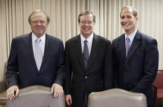 Oklahoma energy company leaders Harold Hamm, Continental Resources, Larry Nichols, Devon Energy and Doug Lawler, Chesapeake Energy, meet with The Oklahoman, Thursday, May 1, 2014. Photo by Doug Hoke, The Oklahoman