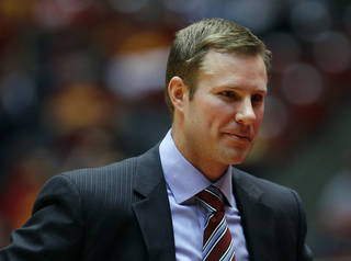 Iowa State coach Fred Hoiberg smiles during the second half of an NCAA college basketball game against Baylor, Saturday, Jan. 15, 2011, in Ames, Iowa. Iowa State won 72-57. (AP Photo/Charlie Neibergall) ORG XMIT: IACN111