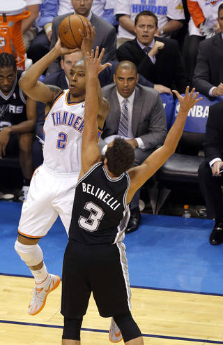 Oklahoma City's Caron Butler (2) shoots as San Antonio's Marco Belinelli (3) defends during Game 4 of the Western Conference Finals in the NBA playoffs between the Oklahoma City Thunder and the San Antonio Spurs at Chesapeake Energy Arena in Oklahoma City, Tuesday, May 27, 2014. PHOTO BY BRYAN TERRY, The Oklahoman