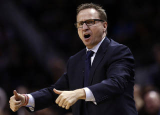Oklahoma City head coach Scott Brooks argues for a jump ball call during Game 1 of the Western Conference Finals in the NBA playoffs between the Oklahoma City Thunder and the San Antonio Spurs at the AT&T Center in San Antonio, Monday, May 19, 2014. Photo by Sarah Phipps, The Oklahoman