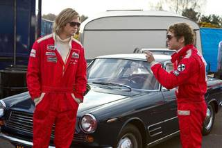 "Ron Howard's fact-based racing drama ""Rush"" chronicles the real-life rivalry between charismatic Englishman James Hunt (Chris Hemsworth, ""The Avengers""), left, and methodical Austrian driver Niki Lauda (Daniel Bruhl, ""Inglourious Basterds""). Universal Pictures photo"