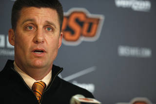 Oklahoma State football coach Mike Gundy addresses media members the 2014 football recruiting class at a press conference held in Boone Pickens Stadium on Thursday, Feb. 6, 2014. Photo by KT King/The Oklahoman KT King