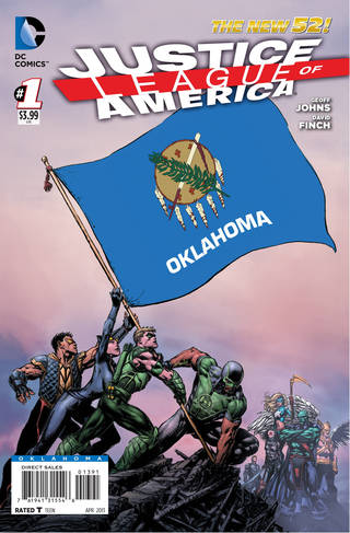 "The Oklahoma cover to ""Justice League of America"" No. 1. DC Comics photo. DC COMICS IMAGE"
