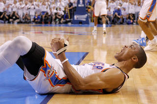 Oklahoma City's Russell Westbrook (0) reacts in the fourth quarter during Game 6 of the Western Conference Finals between the Oklahoma City Thunder and the San Antonio Spurs in the NBA playoffs at the Chesapeake Energy Arena in Oklahoma City, Wednesday, June 6, 2012. Oklahoma City won 107-99. Photo by Bryan Terry, The Oklahoman