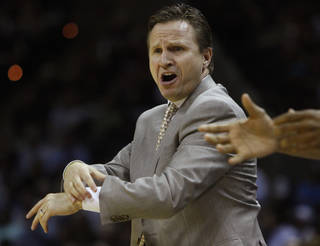 Oklahoma City coach Scott Brooks reacts during Game 2 of the Western Conference Finals between the Oklahoma City Thunder and the San Antonio Spurs in the NBA playoffs at the AT&T Center in San Antonio, Texas, Tuesday, May 29, 2012. Photo by Bryan Terry, The Oklahoman