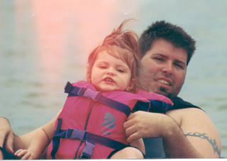 Jason Bartlett and his daughter Caeli Rose on the water. Bartlett was killed by lightning 10 years ago and his life will be celebrated this weekend on Lake Eufaula. Photo provided