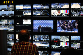 The control room for of the NBA World Feed truck is pictured during Game 1 of the NBA Finals between the Oklahoma City Thunder and the Miami Heat at Chesapeake Energy Arena in Oklahoma City, Tuesday, June 12, 2012. Photo by Sarah Phipps, The Oklahoman