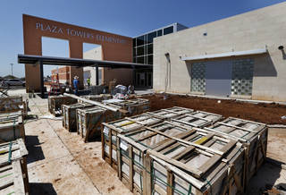 Work continues on the new Plaza Towers Elementary School on Tuesday, Aug. 12, 2014 in Moore, Okla. Photo by Steve Sisney, The Oklahoman