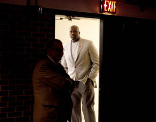 Former NBA star Shaquille O'Neal waits to enter before a question and answer session at Gallagher-Iba Arena on the campus of Oklahoma State University in Stillwater, Okla., Tuesday, April 3, 2012. Oklahoma State University's Student Government Association Speakers Board hosted the event. Photo by Bryan Terry, The Oklahoman