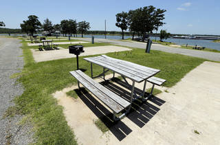 Empty campgrounds and a deserted marina on the lake show the effects of destruction of the Lake Texhoma Lodge and cabins and a delay on construction of a new hotel on Wednesday, June 12, 2013 in Kingston, Okla. Photo by Steve Sisney, The Oklahoman