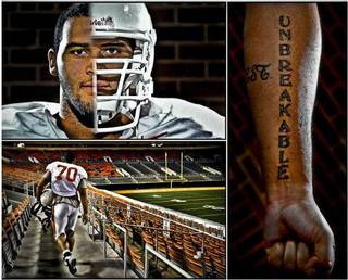 Oklahoma State University offensive lineman Jonathan Rush poses for a photo in Stillwate. Rush has one of the most difficult jobs in football, in protecting the backside of quarterback Brandon Weeden. Photo Illustration by Chris Landsberger, The Oklahoman