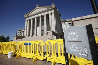 The south steps of the state Capitol are closed due to falling debris in Oklahoma City , Thursday, October 20, 2011. Photo by Steve Gooch