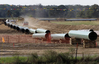 Large sections of pipe are shown in Sumner, Texas, in October 2012. AP File Photo Tony Gutierrez -