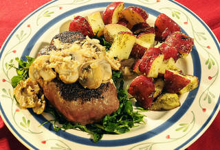 Steak au poivre and garlic rosemary potatoes make for a perfect quick dinner. MARICE COHN BAND - MCT