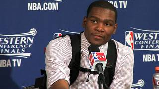 INTERVIEW: Oklahoma City's Kevin Durant is interviewed after game 1 of the Western Conference Finals in the NBA basketball playoffs between the Dallas Mavericks and the Oklahoma City Thunder at American Airlines Center in Dallas, Tuesday, May 17, 2011. Frame grab by Damon Fontenot ORG XMIT: KOD