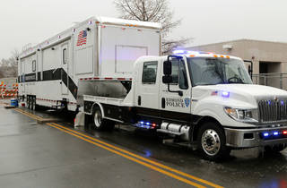 This Edmond Police Department's new mobile command center is equipped with computers and communications gear. Photo by Paul Hellstern, The Oklahoman PAUL HELLSTERN - Oklahoman