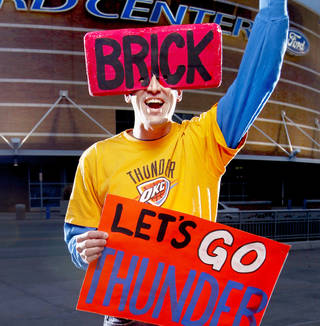 The Thunder is losing one of its best fans, Derrick Seys — AKA Brick Man. PHOTO BY BRYAN TERRY, THE OKLAHOMAN Archive