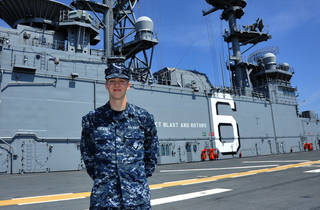 Seaman William Pinckney, an Edmond North High School graduate, is serving in the U.S. Navy as part of a crew charged with bringing the Navy's newest and most advanced amphibious assault ship into service. PHOTO PROVIDED
