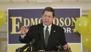Drew Edmondson, Oklahoma attorney general, announces his plans to run for governor in 2010 today. Photo by Steve Gooch
