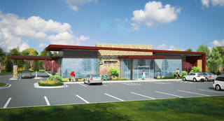An artist's rendering of a complex that will house the new Sovereign Medical Clinic and Sovereign Pharmacy & Fine Gifts, a project by the Chickasaw Nation in Norman. PROVIDED