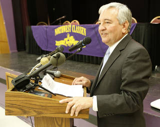 New interim school superintendent Dave Lopez speaks after he is appointed on Monday. Photo by Steve Gooch, The Oklahoman