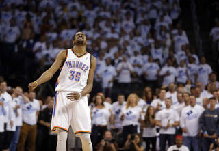 Oklahoma City's Kevin Durant (35) reacts after missing his final shot during Game 5 in the second round of the NBA playoffs between the Oklahoma City Thunder and the Memphis Grizzlies at Chesapeake Energy Arena in Oklahoma City, Wednesday, May 15, 2013. Photo by Sarah Phipps, The Oklahoman
