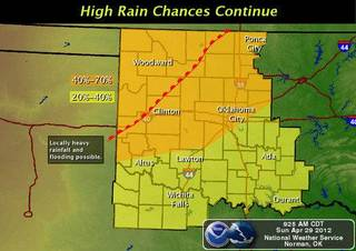 Storms are expected to redevelop this afternoon with the greatest chances across northern Oklahoma. In addition to the chance of severe weather, locally heavy rainfall may produce areas of flooding. - Provided