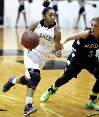 Midwest City's Asia Davis dribbles past Norman North's Paige Canty during the high school girl's basketball game between Midwest City and Norman North at Midwest City High School, Tuesday, Feb. 18, 2014. Photo by Sarah Phipps, The Oklahoman