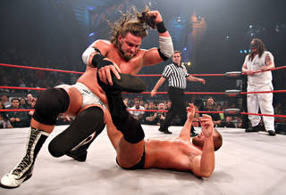 "James Storm performs an elbow drop at a TNA Wrestling event in Orlando, Fla. The wrestlers of ""TNA Impact"" will come to Oklahoma City on Saturday as part of the TNA Impact Wrestling World Tour. The show begins at 7:30 p.m. at Bricktown Coca-Cola Events Center, 425 E California Ave. Among the wrestlers scheduled to appear are current TNA world heavyweight champion Austin Aries, Jeff Hardy and James Storm. Tickets are available online at stubwire.com or by calling (877) 970-7882, or at the Bricktown Coca-Cola Events Center box office. Tickets start at $20. For more information, go online to www.impactwrestling.com. PHOTO PROVIDED BY TNA WRESTLING"