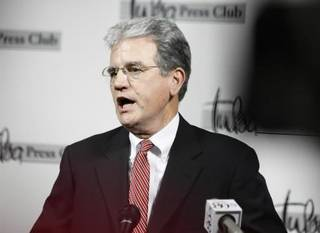 U.S. Sen. Tom Coburn announces he will run for a second term at the Tulsa Press Club this morning. Photo by Tom Gilbert, Tulsa World