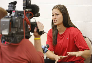 WOMEN'S SOFTBALL / OU: University of Oklahoma's Lauren Chamberlain is interviewed by reporters during a press conference at ASA Hall of Fame Stadium Complex in Oklahoma City, Tuesday July 9, 2013. Photo By Steve Gooch, The Oklahoman