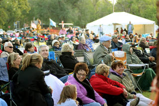 An enthusiastic crowd listens to the music Saturday at the 16th annual Oklahoma International Bluegrass Festival in Guthrie. PHOTO PROVIDED