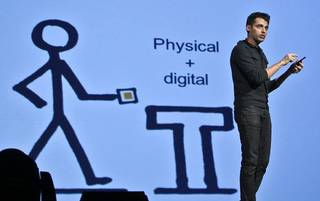 Pranav Mistry, a researcher at MIT who developed SixthSense technology, speaks Wednesday during the Creativity World Forum at the Cox Convention Center in Oklahoma City. Photo by Chris Landsberger, The Oklahoman ORG XMIT: KOD <strong>CHRIS LANDSBERGER</strong>