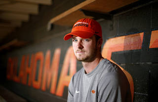 Oklahoma State baseball player Conor Costello poses for a photo before OSU's upcoming NCAA Super Regional to the media during a press conference in Stillwater, Tuesday, June 3, 2014. Photo by Bryan Terry, The Oklahoman