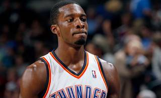 Oklahoma City's Jeff Green reacts to the Thunder's loss in final minutes of the NBA basketball game between the Oklahoma CIty Thunder and Utah Jazz in the Oklahoma City Arena on Sunday, Oct. 31, 2010. Photo by Sarah Phipps, The Oklahoman
