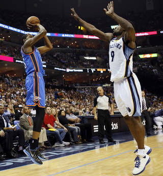 Oklahoma City's Kevin Durant (35) shoots a 3-point shot against Memphis' Tony Allen (9) in the first half during Game 4 of the second-round NBA basketball playoff series between the Oklahoma City Thunder and the Memphis Grizzlies at FedExForum in Memphis, Tenn., Monday, May 13, 2013. Photo by Nate Billings, The Oklahoman