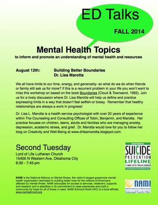 Mental Heath Topics to inform and promote an understanding of mental health and resources