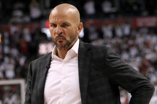 4/30/2014 - Brooklyn Nets vs. Toronto Raptors at the Air Canada Centre - Brooklyn Nets head coach Jason Kidd during a timeout in the 1st half.