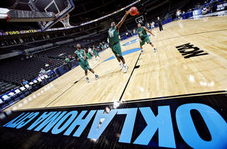 OKLAHOMA CITY REGIONAL / NCAA TOURNAMENT / COLLEGE BASKETBALL: University of North Texas' Eric Tramiel goes for a rebound as the Mean Green hits the court during practice and press conference day of the NCAA Men's first and second round basketball tournament at the Ford Center on Wednesday, March 17, 2010, in Oklahoma City, Okla. Photo by Chris Landsberger, The Oklahoman ORG XMIT: KOD