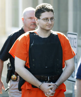 On April 23, 2012, Kevin Sweat leaves court in Okemah. Sweat, accused of killing two girls along a rural Oklahoma road in 2008 but who was not arrested until after being questioned in his fiancee's death three years later, pleaded guilty in both cases Thursday. AP FILE PHOTO Sue Ogrocki - AP